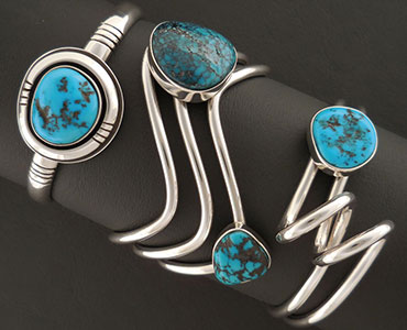 An image of sterling silver turquoise bracelets.